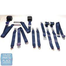 1978-88 GM G Body Cars Factory Style Front Bucket & Rear Seat Belts - Navy Blue