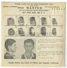Wanted Notice - George A. O'Donnell/Hit & Run - Los Angeles, California, 1940