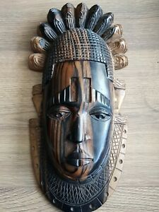 Hand Carved Ebony Wooden African Tribal Mask Handmade Wall Art