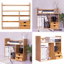 Bamboo Wood Desktop Organizer Book Shelf Plant Stand Display Holder Rack Drawers