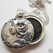MUCHA ART NOUVEAU SILVER POPPY LADY'S HEAD LOCKET / PENDANT AND CHAIN
