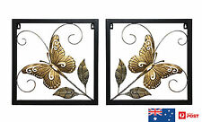 2 of METAL BUTTERFLY WALL ART SQUARE, WROUGHT IRON, WALL SCULPTURES, HOME DECOR