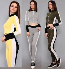 Womens 2PCS Tracksuits Set Ladies Zip Top Leggings Sweats Activewear Loungewear