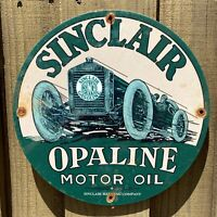 VINTAGE SINCLAIR OPALINE PORCELAIN SIGN GAS STATION MOTOR OIL AUTO PETROLIANA