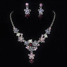 Parure de bijoux soirée fête mariage métal argenté cristal rose mauve collier bo