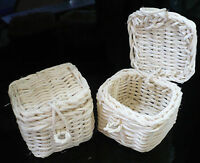 2 Picnic Wicker Baskets Dollhouse Miniatures Supply Deco