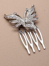 DIAMANTE HAIR comb GRIPS CLIP SLIDE WEDDING,4409 BUTTERFLY CRYSTAL LADIES BRIDAL