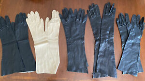"""5 Pairs Vintage Real Kid Leather Long  Gloves Black & Cream 14 to 17"""" Estate LOT"""