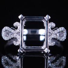 10x8mm Emerald 10K White Gold Engagement Wedding Real Diamonds Semi Mount Ring