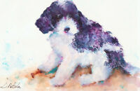 Dog Labradoodle Puppy Canine Original Impressionism Animal Watercolor Painting