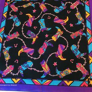 New Vintage Hav A Hank Cowboy Boot Bandana Western Horseshoes Purple Turquoise