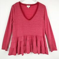 Anthropologie Deletta Womens Top Size M Medium Orange Long Sleeve Blouse V-neck