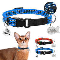 Reflective Pet Cat Dog Collars with Engraved Tags for Small Dog Puppy Chihuahua