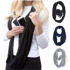 Women Convertible Infinity Scarf With Hidden Zipper Pocket Loop Travel Scarf US