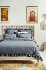 Anthropologie Washed Percale Adina Gray Duvet Cover King Tufted and Ruffled NEW