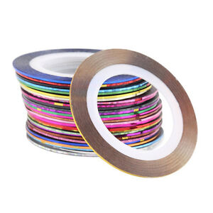 32 Mixed Color Self Adhesive Straight Line Nail Art Strip Sticker Tape 1mm 3003A
