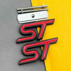 Metal Black & Red ST Grille Car Emblem + Rear Lid Trunk Sport Turbo Badge Decal