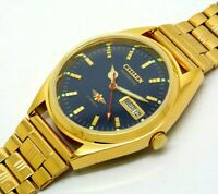 CITIZEN AUTOMATIC MEN GOLD VINTAGE DAY DATE MADE JAPAN WATCH GOOD  WORKING