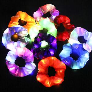 LED Luminous Elastic Scrunchies Hairband Ponytail Holder Headwear Women Girls