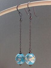 Vintage Deco Unusual Rare Turquoise Silver Foil Oxidized Sterling 925 Earrings