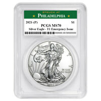 2021 (P) $1 American Silver Eagle PCGS MS70 Emergency Issue Philadelphia Label