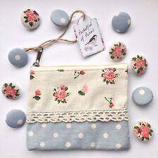 10 Shabby Chic Rosa FLORAL & LUNARES TELA botones en la adecuación de regalo cartera