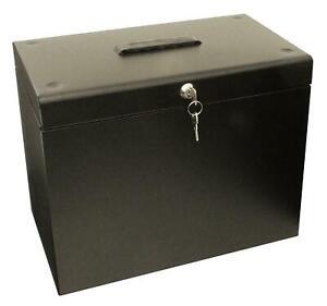 A4 Metal Black File Filing Box Storage Lockable 5 Suspension Files Tidy File