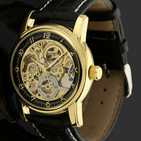 Mens Watch Automatic Mechanical Black Leather Strap Self-winding Analog Display