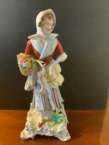Sitzendorf Lady Figurine With Basket Of Flowers And Rabbit German Porcelain