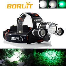 BORUiT 20000LM XML T6 White+2R2 Green LED Hunting Camping Headlamp Headlight