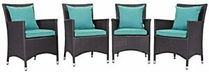 Modway Convene Wicker Rattan Outdoor Patio Dining Armchairs With Cushions in ...