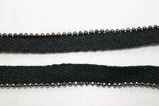 10m Nero sbieco cordoncino con metallo perline in rivestimento inserimento