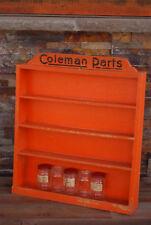 Vintage Coleman Wooden Lantern & Stove Parts Display Case with Jars