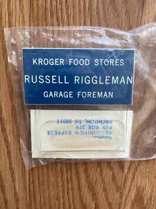 2 VTG Kroger Grocery Stores Name Tag Garage Foreman Russell Riggleman Halloween
