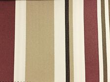 Burgundy Khaki Multi Striped Oak 100% Waterproof Outdoor Canvas Patio Fabric