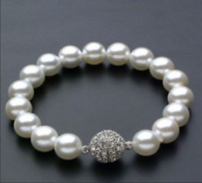 """Beautiful 8mm Natural Round White South Sea Shell Pearl Bracelets 7.5"""""""