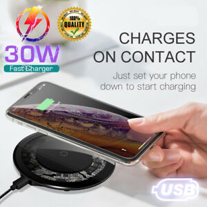 30W Wireless Phone Charger Qi Super Fast Charging Pad For iPhone