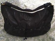 e551f7a35175 NINO BOSSI Brown Leather Glazed Crackled Hobo Handbag Purse Bag-NEW