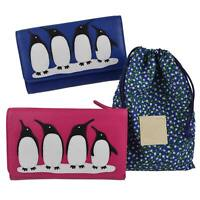 Ladies Tri-Fold Leather Pure/Wallet by Mala; Ollie Collection Penguins Gift
