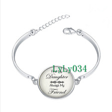 First My Daughter Always glass cabochon Tibet silver bangle bracelets wholesale