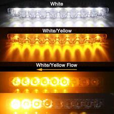 2X 9 LED Daytime Running DRL White + Flowing Turn Signal Amber Switchback Light