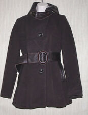 ARTE PELLE COLLECTION CANADA BROWN WOOL BLEND LEATHER TRIM WOMEN PEA COAT SIZE:S