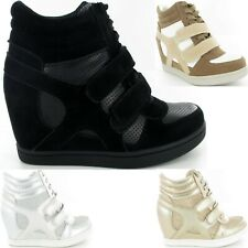 Ladies Womens Concealed Wedge Lace Up Trainers High Top Sneakers New Shoes Size