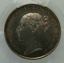 1838 AU Queen Victoria Silver Shilling Coin PCGS UNC Details.