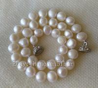 kultivierte 10-11mm weiße barocke Süßwasser Perlenkette 18 zoll Magnetverschluss