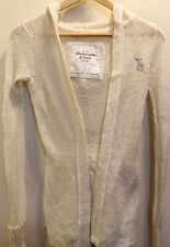 Abercrombie Fitch Women's Cardigan Sweater Hoodie Off-white Wool Small Fall