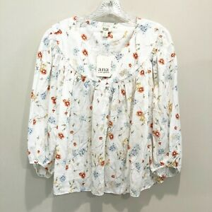 A.N.A. Womens Floral Boho Peasant Style Long Sleeve Top - Size Large