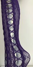 Ladies Side Potholes Wool Like Fishnet Purple Tights Thick Medium Sexy Fun Warm