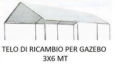 TELO DI RICAMBIO PER GAZEBO 3X6 MT PER COPERTURA AUTO GARAGE BOX IMPERMEABILE