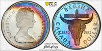 1982 CANADA SILVER DOLLAR PCGS PR67DCAM UNC MONSTER BLUE COLOR TONED (DR)